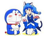 1girl :3 animal_ears bare_shoulders blue_cat blue_gloves braid cat_ears cat_tail commentary_request doraemon doraemon_(character) doughnut elbow_gloves food gloves indian_style kneeling long_hair one_eye_closed precure red_eyes sitting star_twinkle_precure tail thigh-highs trait_connection twin_braids ueyama_michirou yuni_(precure) zettai_ryouiki