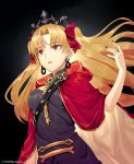 1girl absurdres bangs black_background black_dress black_nails blonde_hair bow breasts brown_cape brown_eyes cape commentary_request dress earrings ereshkigal_(fate/grand_order) eyebrows_visible_through_hair fate/grand_order fate_(series) hair_bow hand_up highres hood hood_down hooded_cape infinity jewelry long_hair looking_away makise_medaka medium_breasts multicolored multicolored_cape multicolored_clothes nail_polish parted_bangs parted_lips red_bow red_cape signature simple_background skull solo spine tiara two_side_up very_long_hair