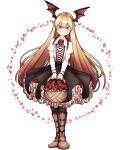 1girl basket bat_wings black_legwear black_skirt blonde_hair boots brown_footwear collared_shirt cross-laced_clothes eyebrows_visible_through_hair flower flower_basket frilled_skirt frills granblue_fantasy hair_between_eyes head_wings highres long_hair long_sleeves looking_at_viewer mefomefo petals pointy_ears red_eyes rose shirt skirt smile solo vampy white_background wings