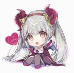 1girl :o bangs black_cape black_dress black_sleeves blush_stickers breasts brown_eyes cape chibi curled_horns demon_horns detached_sleeves dress elbow_gloves eyebrows_visible_through_hair fang frilled_dress frills full_body gloves grey_hair grey_legwear grey_wings heart highres horns knees_up long_hair looking_at_viewer open_mouth pantyhose puffy_short_sleeves puffy_sleeves purple_footwear purple_gloves rouche_(shironeko_project) rukako shadow shironeko_project shoes short_sleeves sitting small_breasts solo strapless strapless_dress translation_request v-shaped_eyebrows very_long_hair white_background wings