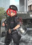 1girl armored_personnel_carrier assault_rifle beret blue_eyes bope city commentary_request emblem english_commentary fingerless_gloves gloves gun hat kws military_jacket original patch police police_uniform policewoman portuguese_commentary portuguese_text redhead rifle solo spanish_commentary tactical_clothes trigger_discipline uniform weapon weapon_request