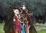 1boy 1girl :d absurdres armor artist_name bangle belt black_cape black_gloves black_knight_(fire_emblem) black_legwear blue_hair blue_scarf boots bracelet broken_armor cape cape_hold dress elbow_gloves fire_emblem fire_emblem:_radiant_dawn fire_emblem_heroes forest gloves green_eyes hair_ribbon half_updo highres jewelry long_hair looking_up micaiah_(fire_emblem) nature open_mouth outdoors pantyhose rain ribbon ritence scarf side_slit silver_hair sleeveless sleeveless_dress smile yellow_eyes zelgius_(fire_emblem)
