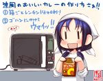 1girl alternate_costume artist_logo bandana blue_hair box commentary_request curry dated food kanon_(kurogane_knights) kantai_collection long_hair low_twintails oven revision ribbon shirt simple_background sleeves_rolled_up smile solo standing suzukaze_(kantai_collection) translated twintails upper_body white_background white_shirt ||_||