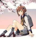 1girl annin_musou bangs binoculars blue_sailor_collar blush brown_eyes brown_hair cherry_blossoms dress eyebrows_visible_through_hair hair_between_eyes headgear kantai_collection long_sleeves neckerchief rigging sailor_collar sailor_dress shadow short_hair sitting smile socks solo speaking_tube_headset yellow_neckwear yukikaze_(kantai_collection)
