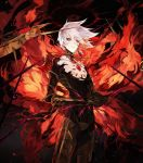 1boy black_bodysuit bodysuit cape chest_jewel closed_mouth commentary cowboy_shot eyeshadow facial_scar fate/apocrypha fate_(series) fire interlocked_fingers karna_(fate) looking_at_viewer makeup male_focus mo_(mocopo) own_hands_together red_cape scar scar_on_cheek solo spikes standing white_hair