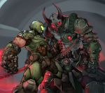2boys absurdres arm_blade axe battle_axe biceps black_sclera breastplate clenched_hands covered_mouth demon_boy demon_horns doom_(game) doom_eternal doomguy energy_axe faceoff glowing glowing_eyes grey_skin gun height_difference helmet highres holding holding_weapon holstered_weapon horns kelvin_hiu male_focus manly marauder_(doom_eternal) multiple_boys muscle power_armor red_eyes shotgun shoulder_armor veins weapon