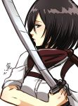 1girl belt black_eyes black_hair holding holding_sword holding_weapon kiss kokomi_(aniesuakkaman) mikasa_ackerman muscle muscular_female paradis_military_uniform scarf shingeki_no_kyojin shirt short_hair sleeves_rolled_up solo strap sword toned weapon