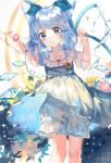 1girl abstract_background arms_up artist_name bangs bib bloomers blue_dress blue_eyes blue_hair bow character_name chinese_commentary cirno clothes_writing commentary_request cropped_legs dated dress expressionless feet_out_of_frame flower hair_bow hair_ornament hairclip head_tilt highres holding_hose hose leaning_to_the_side ling_mou looking_at_viewer medium_hair morning_glory plant short_hair solo symbol_commentary touhou underwear vines water white_background wings x_hair_ornament