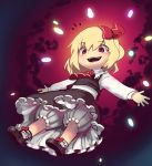 1girl :d absurdres ankle_bow ascot blonde_hair bloomers boa_(brianoa) bow brown_footwear brown_skirt brown_vest bubble_skirt collared_shirt eyebrows_visible_through_hair hair_bow highres long_sleeves looking_at_viewer open_mouth red_bow red_eyes red_neckwear rumia shirt shoes short_hair skirt smile socks solo touhou underwear vest white_legwear white_shirt wing_collar