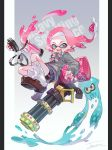 1girl aka_tonbo_(lovetow) artist_name background_text bike_shorts black_shorts blue_eyes bow bowtie brown_footwear cardigan commentary domino_mask dress_shirt earrings english_text fangs floating green_neckwear grey_sweater hair_ornament hairclip heavy_splatling_(splatoon) highres ink_tank_(splatoon) inkling jewelry loafers long_hair looking_at_viewer loose_socks mask miniskirt multicolored multicolored_stripes open_mouth paint_splatter pink_hair pink_neckwear pleated_skirt pointy_ears school_uniform shirt shoes short_shorts shorts shorts_under_skirt signature single_vertical_stripe skirt smile socks solo splatoon_(series) splatoon_2 squid striped striped_neckwear sweater white_legwear white_shirt