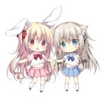 2girls animal_ear_fluff animal_ears black_bow black_footwear blonde_hair blue_bow blue_eyes blue_sailor_collar blue_skirt bow braid bunny_girl bunny_tail chibi commentary_request grey_hair hair_bow hands_together kneehighs korie_riko long_hair midriff_peek multiple_girls navel one_side_up original pink_sailor_collar pink_skirt pleated_skirt rabbit_ears red_bow red_eyes red_footwear sailor_collar school_uniform serafuku shirt shoes short_sleeves simple_background skirt standing standing_on_one_leg striped striped_bow tail twin_braids very_long_hair white_background white_legwear white_shirt