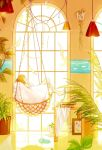1girl bare_legs frame hammock harusame_sigu8 highres indoors long_hair looking_out_window looking_to_the_side orange_hair original painting_(object) paper plant potted_plant reflection sandals solo
