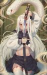 1girl absurdres animal arm_up bamboo bangs black_bow black_sailor_collar black_skirt bow closed_mouth commentary_request eyebrows_behind_hair fingernails goback hair_over_one_eye highres holding holding_sheath holding_sword holding_weapon katana long_fingernails long_hair long_sleeves looking_at_viewer midriff nail_polish navel original pleated_skirt red_eyes red_nails sailor_collar school_uniform serafuku sharp_fingernails sheath shirt skirt smile snake solo sword thigh-highs thigh_gap unsheathing very_long_hair weapon white_hair white_legwear white_shirt white_snake