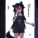 1girl ahoge animal_ear_fluff animal_ears bare_legs black_hair black_panties black_shirt blush cellphone clothes_writing collarbone commentary_request dated door doorknob ejami ekko_(ejami) eyebrows_visible_through_hair fox_ears fox_girl fox_tail hair_between_eyes holding holding_phone long_hair mole mole_on_thigh naked_shirt original panties phone red_eyes shirt short_sleeves signature smartphone smile solo tail translation_request underwear