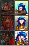 1girl blue_hair blush cacodemon cyclops demon_girl doom_(game) doom_eternal food green_eyes grin hamburger highres horns looking_at_viewer one-eyed personification pointy_ears poking_nose pov reference_photo_inset sharp_teeth shirt smile substance20 surprised teeth wavy_mouth yellow_shirt