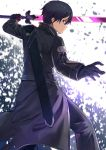 1boy absurdres bangs black_coat black_gloves black_hair black_pants blurry blurry_background closed_mouth coat depth_of_field from_behind gloves hair_between_eyes hand_up highres holding holding_sword holding_weapon kirito long_sleeves male_focus mosta_(lo1777789) pants profile sheath solo standing sword sword_art_online unsheathed violet_eyes weapon