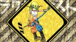 1girl barcode barcode_tattoo blue_pants boots brush commentary cosmo_(bousoup) diamond_(shape) diamond_plate full_body gloves green_eyes green_hair gumi hardhat helmet holding looking_to_the_side metal midriff orange_pants pants shirt short_hair sign sleeves_rolled_up solo tattoo two-tone_legwear vocaloid warning_sign white_shirt yellow_headwear