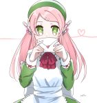 1girl apron bow bowtie eyebrows_visible_through_hair green_eyes green_headwear hair_ornament hairclip heart highres holding holding_letter letter long_hair long_sleeves looking_at_viewer momone_momo pink_hair red_bow red_neckwear robot_ears signature solfa_(gikosweety) solo upper_body utau white_apron