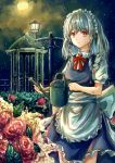 1girl apron bangs blue_dress bow braid commentary_request cowboy_shot dress eyebrows_visible_through_hair flower frilled_apron frills green_bow hair_bow highres holding izayoi_sakuya lamppost long_hair looking_at_viewer maid maid_apron maid_headdress neck_ribbon night night_sky petals puffy_short_sleeves puffy_sleeves red_eyes red_flower red_neckwear red_ribbon red_rose ribbon rose shirt short_sleeves silver_hair sky smile solo standing star_(sky) starry_sky suzushina touhou twin_braids waist_apron watering_can white_apron white_shirt
