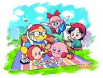 2girls acro_(kirby) adeleine animal_ears black_hair blanket blue_eyes blue_sky broom broom_riding cake card cat_ears chewing clouds coat crystal_shard dress drumsticks easel fairy flower food grass grey_skirt grin highres hr-h keke_(kirby) king_dedede kirby kirby_(series) kirby_64 looking_at_another magman maxim_tomato miracle_matter multiple_girls n-z onigiri paintbrush pink_hair pix rariatto_(ganguri) red_coat red_dress red_headwear red_ribbon ribbon ribbon_(kirby) sandwich shoes skirt sky smile smock stool waddle_dee whispy_woods white_hair zero_two_(kirby)