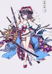 1girl armpits arms_behind_head arms_up bangs bare_shoulders beads bikini blue_eyes bracelet breasts calligraphy_brush closed_mouth collarbone fate/grand_order fate_(series) floral_print full_body goggles goggles_on_head grey_background jewelry katana katsushika_hokusai_(fate/grand_order) katsushika_hokusai_(swimsuit_saber)_(fate) legs long_hair medium_breasts multiple_swords obi octopus paintbrush pouch purple_hair sandals sash sidelocks simple_background smile swimsuit sword thigh_strap tokitarou_(fate/grand_order) tongue tongue_out waves weapon white_bikini zka