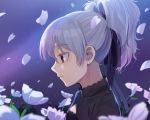 1girl bangs black_ribbon closed_mouth colored_eyelashes darker_than_black eyebrows_visible_through_hair flower from_side gradient_hair hair_ribbon half-closed_eyes kamille_(vcx68) multicolored_hair night night_sky outdoors petals pink_lips profile purple_hair ribbon short_hair short_ponytail silver_hair sky solo sparkle upper_body violet_eyes white_flower yin