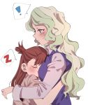 ! 2girls absurdres blonde_hair blue_eyes blush breasts brown_hair closed_eyes closed_mouth diana_cavendish head_on_chest highres hug kagari_atsuko little_witch_academia long_hair looking_at_another luna_nova_school_uniform medium_breasts multiple_girls open_mouth school_uniform simple_background sleeping speech_bubble sweat takao_(88499191) teeth upper_body upper_teeth white_background yuri