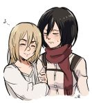 2girls arm_hug bangs belt black_eyes black_hair blonde_hair blush breasts christa_renz closed_eyes dress embarrassed hair_between_eyes happy hug kokomi_(aniesuakkaman) medium_hair mikasa_ackerman multiple_girls musical_note paradis_military_uniform red_scarf scarf shingeki_no_kyojin shirt short_hair smile strap sweat sweatdrop yuri