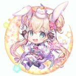 >_< 1girl :d animal_ears bangs black_legwear blonde_hair blue_eyes boots bunny_hair_ornament chibi crescent double_bun dress eyebrows_visible_through_hair flower full_body fur-trimmed_boots fur-trimmed_dress fur-trimmed_gloves fur_trim gloves hair_between_eyes hair_flower hair_ornament highres kagami_mochi long_sleeves looking_at_viewer low_twintails on_head open_mouth outstretched_arms pink_dress pink_flower rabbit_ears rukako shironeko_project smile solo spread_arms star thigh-highs translation_request tsukimi_(shironeko_project) twintails white_background white_footwear white_gloves wide_sleeves