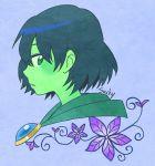1girl blue_background flower green_eyes green_skin mona_(shovel_knight) parted_lips portrait profile purple_flower sachy_(sachichy) short_hair shovel_knight signature simple_background solo