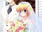 blush bouquet bouquets bride church crown dress earrings flower hat heterochromia hoshiful hoshikawa_ruka jewelry necklace rice wedding wedding_dress