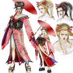 blonde_hair breasts cleavage hair_ornament japanese_clothes obi oiran oriental_umbrella platform_footwear sandals setsuka soul_calibur soulcalibur sword umbrella weapon