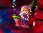 blonde_hair cross flandre_scarlet hat kazu_(artist) kazu_(muchuukai) ponytail ribbon ribbons short_hair touhou wings
