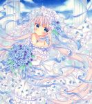 1girl bare_shoulders blue_eyes blue_flower blue_hair blue_ribbon blue_rose blue_sky blush bouquet bow bridal_veil bride choker closed_mouth clouds collarbone commentary day dress dress_flower elbow_gloves expressionless floating_hair flower frilled_choker frilled_dress frills gloves gradient_hair hair_flower hair_ornament holding holding_bouquet long_hair looking_at_viewer marker_(medium) multicolored_hair off-shoulder_dress off_shoulder original pillar pink_hair puu_(kari---ume) ribbon rose short_sleeves sky solo traditional_media twitter_username veil very_long_hair wedding_dress white_dress white_gloves