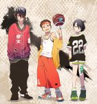 1girl 2boys aang alternate_hair_length alternate_hairstyle arm_tattoo avatar:_the_last_airbender avatar_(series) baggy_pants ball baseball_cap basketball basketball_uniform black_hair brown_hair burn_scar capri_pants contemporary flat_chest green_eyes hat headband holding holding_ball jacket jewelry leg_tattoo loose_socks male_focus multiple_boys off-shoulder_jacket pants pendant scar scar_across_eye shoes short_ponytail shorts sleeves_past_wrists sneakers sportswear t_k_g tank_top tattoo toph_bei_fong updo wristband zuko