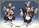 3girls annette_fantine_dominic blonde_hair bow closed_eyes closed_mouth fire_emblem fire_emblem:_three_houses from_side green_eyes green_little hair_bow holding ingrid_brandl_galatea long_hair long_sleeves low_ponytail maid maid_headdress mercedes_von_martritz mop multiple_girls open_mouth orange_hair plate simple_background twintails watermark web_address white_legwear