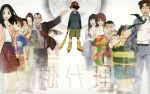 6+boys 6+girls :d ^_^ baseball_bat baseball_cap beard black_hair blouse blurry brown_hair brown_jacket cellphone character_request closed_eyes copyright_name facial_hair formal glasses grey_background hat highres hirukawa_taeko ikari_keiichi ikari_misae inline_skates jacket kawazu_akio kon_satoshi laughing long_sleeves moon mousou_dairinin multiple_boys multiple_girls mustache necktie open_clothes open_jacket open_mouth outstretched_arm phone red_neckwear roller_skates sagi_tsukiko short_hair shounen_bat simple_background skates smile suit sun_hat taira_yuuichi teeth