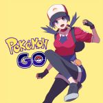 1girl :d baseball_cap black_gloves breasts clenched_hands copyright_name cosplay crystal_(pokemon) female_protagonist_(pokemon_go) female_protagonist_(pokemon_go)_(cosplay) fingerless_gloves gloves hat logo medium_breasts open_mouth pokemon pokemon_(game) pokemon_go pokemon_special shoes smile sneakers solo twintails yellow_background yui_ko