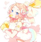1girl absurdres arm_scrunchie bangs blue_eyes bow candy candy_hair_ornament commentary dress dress_bow food food_themed_hair_ornament fur-trimmed_dress fur-trimmed_mittens hair_ornament hairclip heart heart_lollipop highres holding_lollipop kagamine_rin leaning_forward light_blush light_smile lollipop looking_at_viewer mittens number_tattoo oversized_food oyamada_gamata platinum_blonde_hair short_hair shoulder_tattoo sleeveless sleeveless_dress solo swept_bangs symbol_commentary tattoo upper_body vocaloid white_bow white_dress yellow_mittens