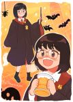 1girl 49s-aragon bat black_footwear black_hair blush border bug collared_shirt freckles full_body ghost glasses gryffindor halloween halloween_costume highres hogwarts_school_uniform holding holding_wand jack-o'-lantern jimiko multiple_views necktie open_mouth original outline school_uniform shirt short_hair smile socks sparkle spider striped striped_neckwear upper_body wand white_outline wide_sleeves