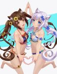 2girls animal_ears barefoot bikini black_bikini blue_eyes blue_flower breasts brown_hair cat_ears cat_tail chocola_(nekopara) collarbone commentary_request cowboy_shot flower grey_background hair_ornament hairclip heart heart_hands heart_hands_duo long_hair looking_at_viewer low_ponytail medium_breasts multiple_girls nail_polish navel nekopara orange_eyes side-tie_bikini small_breasts sunflower swimsuit tail tail_ornament tarou_(user_tpmh7442) twintails two-tone_background vanilla_(nekopara) white_bikini white_hair