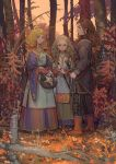 3girls akaneko_(redakanekocat) alcohol autumn bangs basket black_pants black_shirt blonde_hair boots bottle bow braid brown_eyes choker closed_mouth collar collarbone commentary_request day dress facing_viewer forest from_behind full_body hair_bow hair_ornament highres holding holding_basket jewelry leather leather_boots long_dress long_hair long_sleeves multiple_girls nature open_mouth original outdoors pants plant red_bow shirt smile standing sword teeth thick_eyebrows tree turtleneck weapon wine wine_bottle yellow_eyes