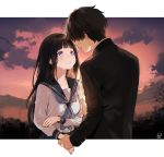 1boy 1girl bangs black_hair black_jacket breasts brown_hair chitanda_eru collarbone commentary_request eyebrows_visible_through_hair hand_grab highres hyouka jacket long_hair long_sleeves looking_at_another medium_breasts mery_(apfl0515) oreki_houtarou outdoors school_uniform serafuku shirt short_hair signature sunset violet_eyes white_shirt