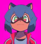 1girl animal_ears black_hair blue_hair blush brand_new_animal closed_mouth eyebrows_visible_through_hair furry green_eyes highres kagemori_michiru looking_at_viewer multicolored multicolored_eyes multicolored_hair ontama pink_eyes purple_background raccoon_ears short_hair simple_background smile solo twitter_username