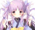 1girl bangs bed_sheet blue_kimono blue_ribbon blush bow brown_eyes closed_mouth hair_ribbon hands_up hikawa_kyouka japanese_clothes kimono long_hair long_sleeves looking_at_viewer parted_bangs pointy_ears princess_connect! princess_connect!_re:dive purple_hair ribbon ribbon_trim shiratama_(shiratamaco) solo twintails upper_body wide_sleeves yellow_bow