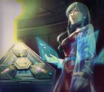 1girl belt black_choker blue_eyes breasts choker dress from_below fuwamoko_momen_toufu galatea_(xenoblade) highres holographic_interface indoors labcoat lips long_hair medium_breasts name_tag red_dress science_fiction solo xenoblade_(series) xenoblade_2 zohar