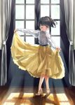 1girl blouse blush crossed_legs curtains curtsey indoors koisuru_asteroid long_sleeves one_eye_closed open_window ponytail puffy_sleeves see-through see-through_silhouette shoes short_hair skirt skirt_hold solo sunlight touyama_nao ugchoco white_blouse window yellow_footwear yellow_skirt