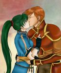 1boy 1girl armor closed_eyes couple cute fire_emblem fire_emblem:_rekka_no_ken fire_emblem:_the_blazing_blade fire_emblem_7 fire_emblem_blazing_sword gloves green_hair intelligent_systems kent_(fire_emblem) kiss kissing kiu227 long_hair love lyn_(fire_emblem) nintendo orange_hair pelvic_curtain ponytail short_hair