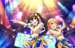 black_hair blush dress green_eyes idolmaster_cinderella_girls_starlight_stage long_hair matoba_risa smile twintails wink yuuki_haru