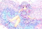 1girl blush bobby_socks bow bracelet cherry_blossoms commentary detached_sleeves double_bun dress feet_out_of_frame floating_hair floral_background flower frilled_dress frills hair_bow hair_flower hair_ornament hairband hand_up jewelry lolita_hairband long_hair looking_at_viewer marker_(medium) original petals petticoat pink_flower purple_bow purple_dress purple_footwear puu_(kari---ume) ribbon shoes sidelocks silver_hair socks solo tassel too_many too_many_frills traditional_media twintails very_long_hair violet_eyes white_background wide_sleeves